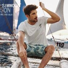 Simwood Лето 2017 г. футболка Для мужчин 100% натуральный хлопок Slim Fit Вышивка плюс Размеры Повседневное Топы корректирующие брендовая одежда TD017013