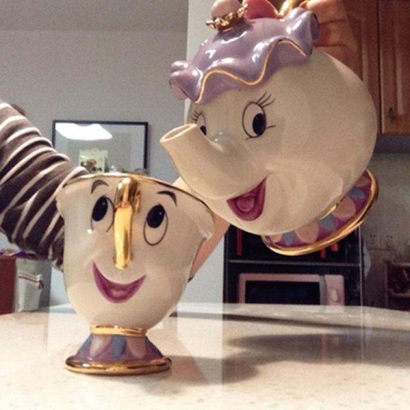 كوب ابريق شاي بأشكال كرتونية الجمال والوحش كوب براد شاي السيدة بوتس تشيب مجموعة أكواب من البورسلين مطلي بالذهب عيار 18
