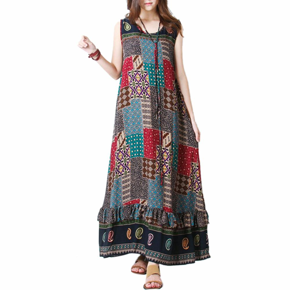 Summer Women Fashion Maxi O-neck Sleeveless Ankle-length Print Bohemian Maxi Dress Female
