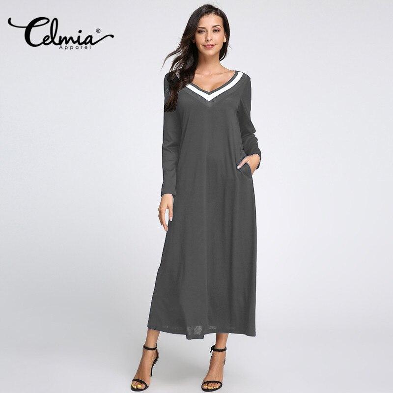 Celmia Women Elegent Sexy Dresses 2018 Autumn Winter Femme V Neck Long Sleeve Casual Loose Long Maxi Dress Plus Size Veatidos