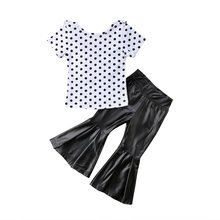 2018 new Toddler Baby Girl Polka Dot Tops T-shirt and PU Flared Pants Bell Bottom Outfits fashion wild lovely dot cute CH(China)