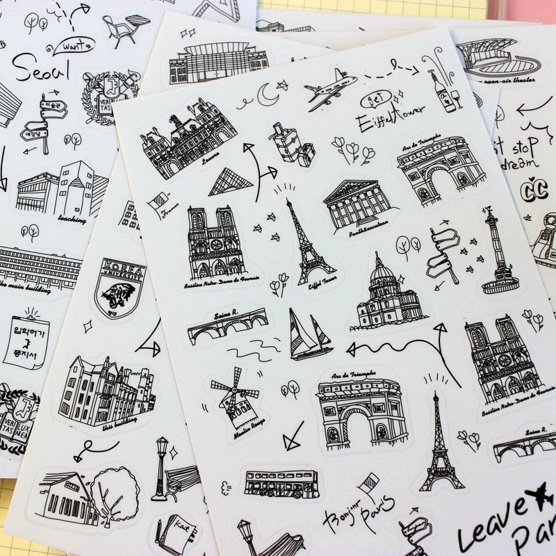 6 Sheets/lot World-renowned Architecture Tour Pvc Transparent Stickers Flakes Decorative cute World Famous Buildings Diy Lable guitar hero world tour купить pc