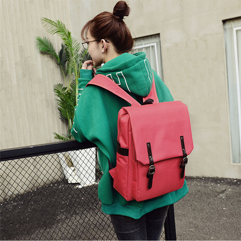 Fashion Women Ladies Backpack Patchwork Casual Travel Laptop Book Bag Canvas Portable Computer Backpacks 2017