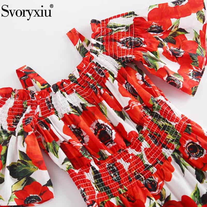 Playa Pista Algodón Impresión Vestidos Rojo Espagueti Verano Hombro Vacaciones Correa Vestido Sexy Svoriu Floral De Multiple Largo La En Mujer wq65vUxC