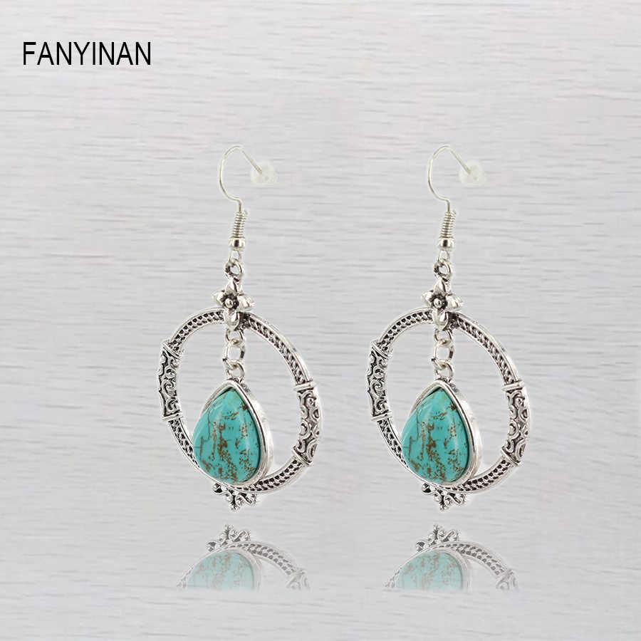 Fanyinanグリーンシルバーカラードロップイヤリングボヘミアンl石ゴージャスなイヤリング用女性ステートメントジュエリー