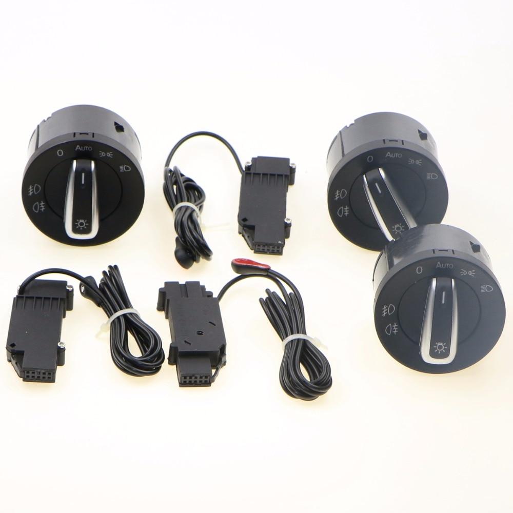 3 Set Original Chrome Headlights Control Knob Switch Adjustment Sensor Kit For VW Passat Golf 6 Jetta 5 Tiguan Caddy 5ND941431B for volkswagen jetta 6 mk6 fog lights lamp 2pcs grilles cable harness headlights switch control set vw golf mk6 2010 2014