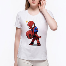 Fashion Deadpool And Spiderman Slim Women T-shirt Summer New Casual Women's Short Sleeve Cartoon T Shirts Tops Tees 6N-163#