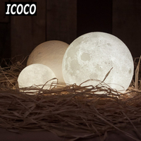 ICOCO 3D Print Simulation Moon LED Nightlight Touch Control USB Charging Desk Lamp Gift 8 10