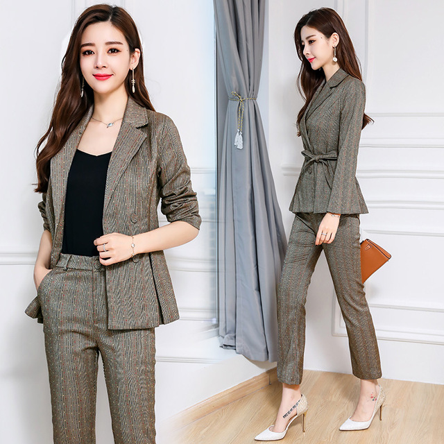 9184d5a6542f 2018 Formal Suits for Women Casual Office Business Suits Work Wear Sets  Uniform Styles Pant Suits Fashion Plaid terno feminino