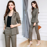 2018 Formal Suits for Women Casual Office Business Suits Work Wear Sets Uniform Styles Pant Suits Fashion Plaid terno feminino