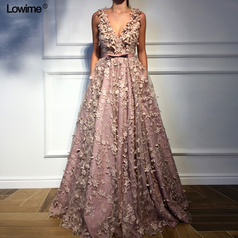 New Sexy Deep V Neck Evening Dresses 2019 Lace Long Abendkleider Turkish Arabic Dubai Sleeveless Prom