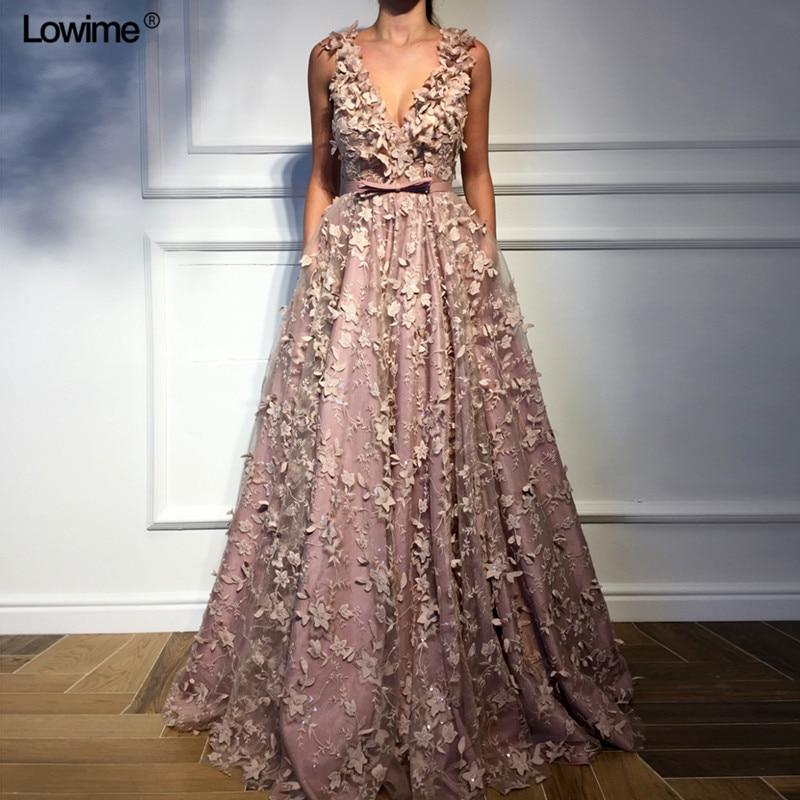 New Sexy Deep V-Neck   Evening     Dresses   2018 Lace Long Abendkleider Turkish Arabic Dubai Sleeveless Prom Party   Dresses   Women
