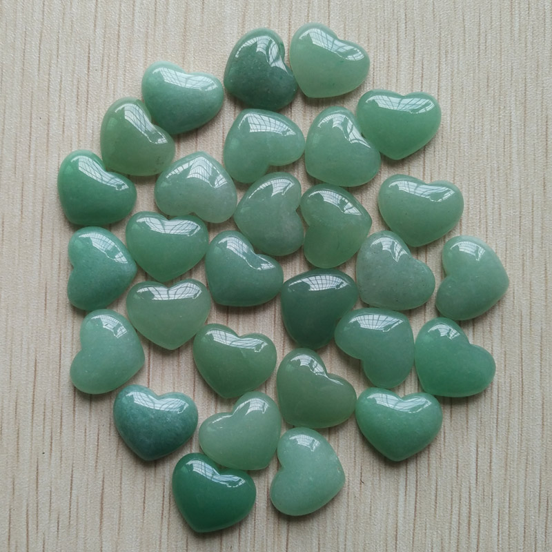 Wholesale 30pcs/lot good quality Natural Stone Green Aventurine heart cab cabochons beads for jewelry making 15x18mm free