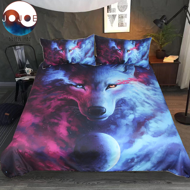 Art Print Bedclothes Where Light And Dark Meet By JoJoes Bedding Set Wolf 3D Duvet Cover Pillowcases Wolf Eye 3pcs Dropshipping