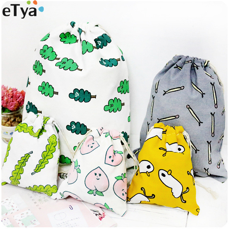 ETya New Women Cotton Cartoon Cute  Drawstring Bag Fresh Travel Makeup Bag Female Cosmetic Bags Case Pouch Shoes Bag