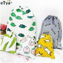 eTya New Women Cotton Cartoon Cute font b Drawstring b font font b Bag b font