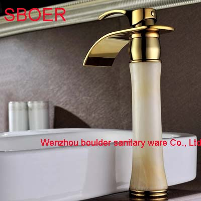 New Long Waterfall White Marble Stone Jade Solid Brass Copper Gold Bathroom Vanity Basin Lavatory Sink Vessel Mixer Tap Faucet