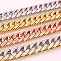 "Customized Size 7-40"" Huge Heavy 316L Stainless Steel Silver/Gold/ Rose Gold Cuban Link Chain Mens Necklace&Bracelet 16mm Gift"
