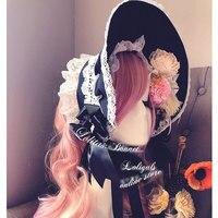 Vintage Lace Trimming Lolita Half Bonnet Victorian Soft Wire Brim Bonnet