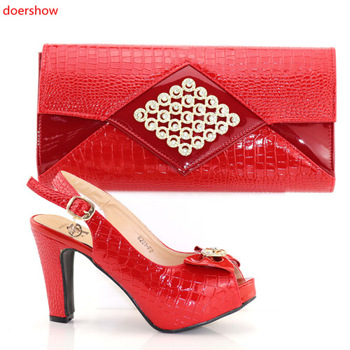 doershow fashion red Italian Women Matching Shoes and Bag Set Italian Wedding African Shoes And Bag To Match For Party PAB1-6 doershow italian shoes and bag set women shoe and bag to match for parties latest green color lady matching shoes and bag ul1 4