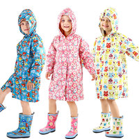 Kids Raincoat Cute Children Long Rain Coat Tour Waterproof Japan Cover Poncho Rainwear Hooded Capa De Chuva Impermeable LZO020