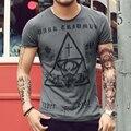 Mens camisetas Casual Tops Tees men Slim t-shirt de manga curta de Algodão Do Vintage impressão Religiosa t camisa camisa 2016 de Alta qualidade