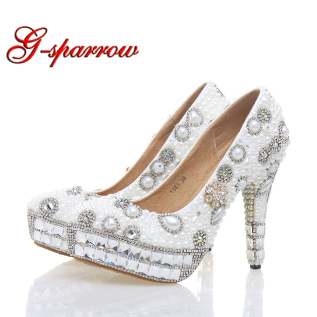 White Pearl Bridal Shoes Women Evening Party Dress Shoes Wedding Pumps  Platform Rhinestone Bling Dress Prom Shoes Free Shipping f5cb5b40b79b