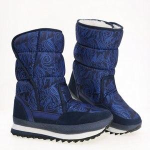 Image 5 - כחול כהה מגפי צבע ליידי נעלי חורף חם מדרסים שלג אתחול גודל גדול נחמד למראה בד עליון גומי וeva outsole לא להחליק