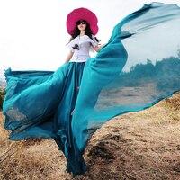 [لينيت's chinoiserie-boshow] الصيف الاتجاه التصميم الأصلي المرأة الوطني بوهيميا الشيفون ماكسي تنورة ، شاطئ تنورة