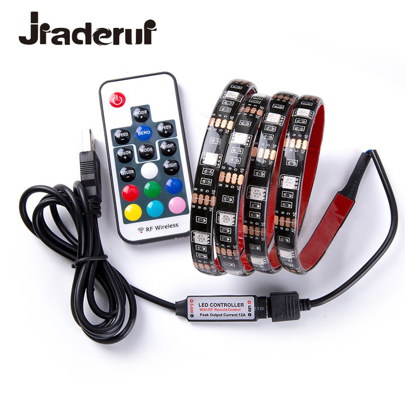 Jiaderui DC 5V USB LED Strip SMD 5050 RGB Flexible Light TV Backlight RGB Adhesive Tape Kit with Controller Waterproof