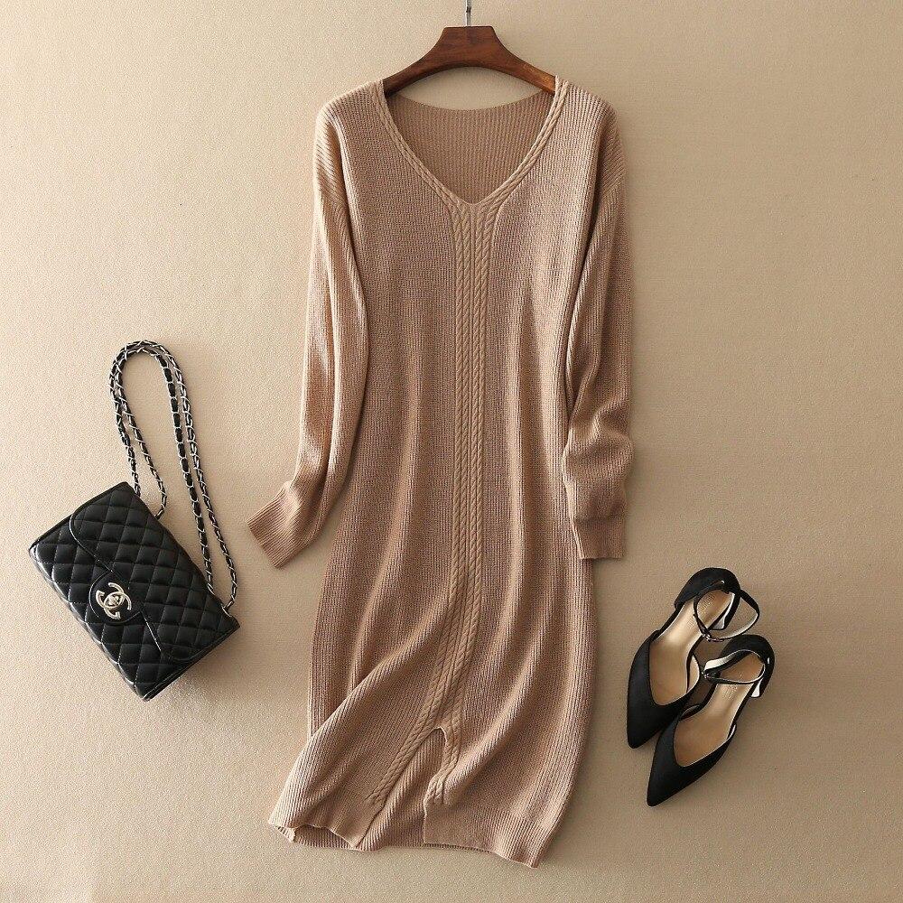 Automne/hiver robe en cachemire manches longues couleur unie robe de noël fille haut de gamme pull à fond femmes Pure robe en cachemire