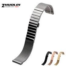 Nuevos Mens Wristband 20 mm 22 mm 24 mm plata de malla sólida pesada inoxidable correa de reloj reloj de guijarros elegante