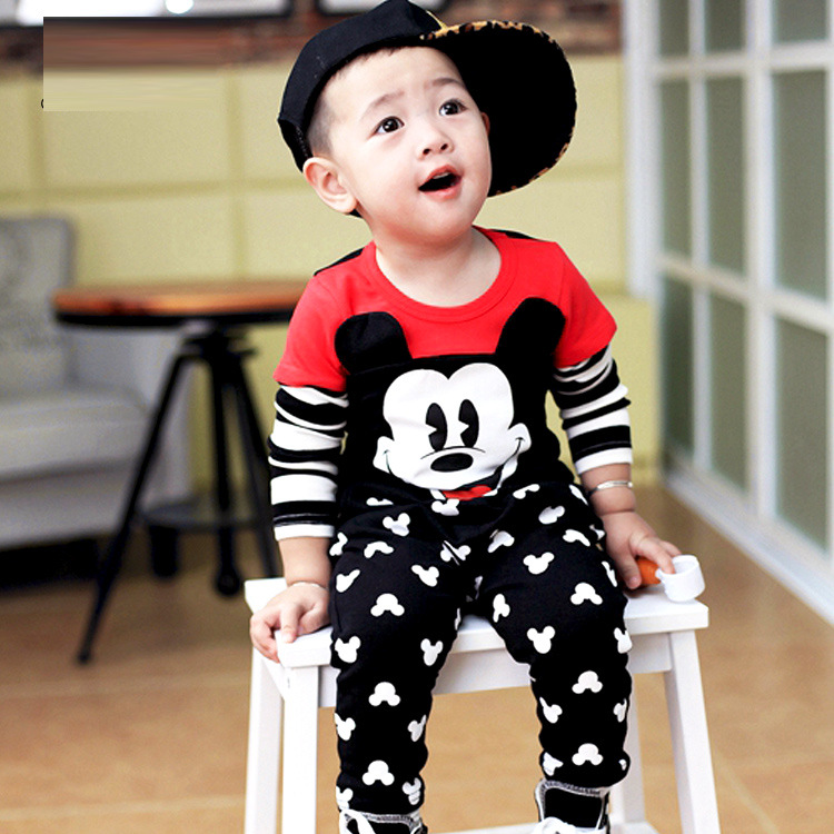 baby boys clothing sets cartoon Mickey 2017 Spring childrens wear cotton casual tracksuits kids clothes sports suit