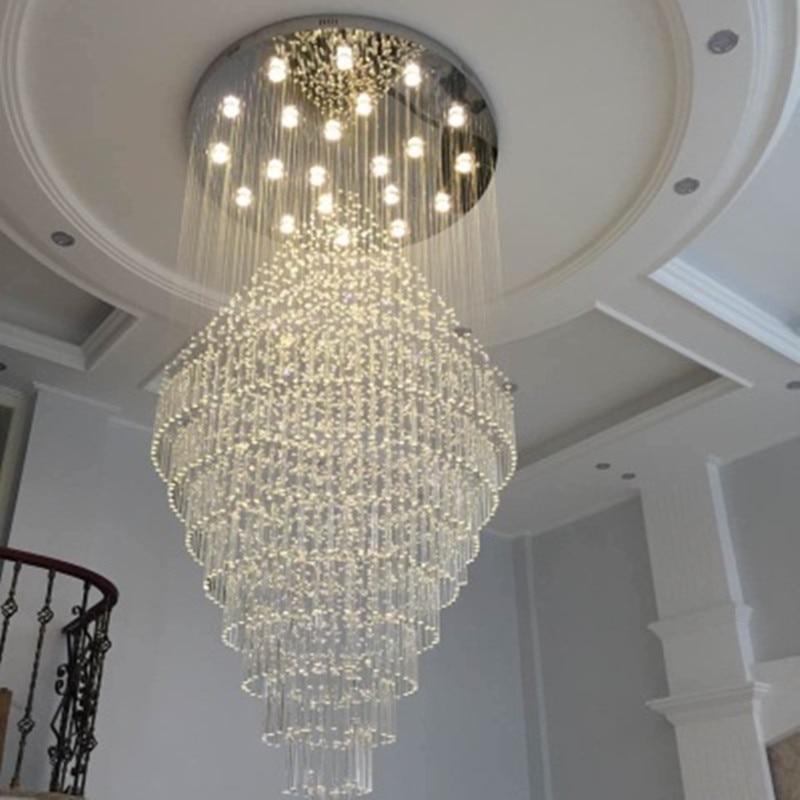 Mordern Lustre Eclairage Led Cristal Plafond Suspendu Lampe Lustre