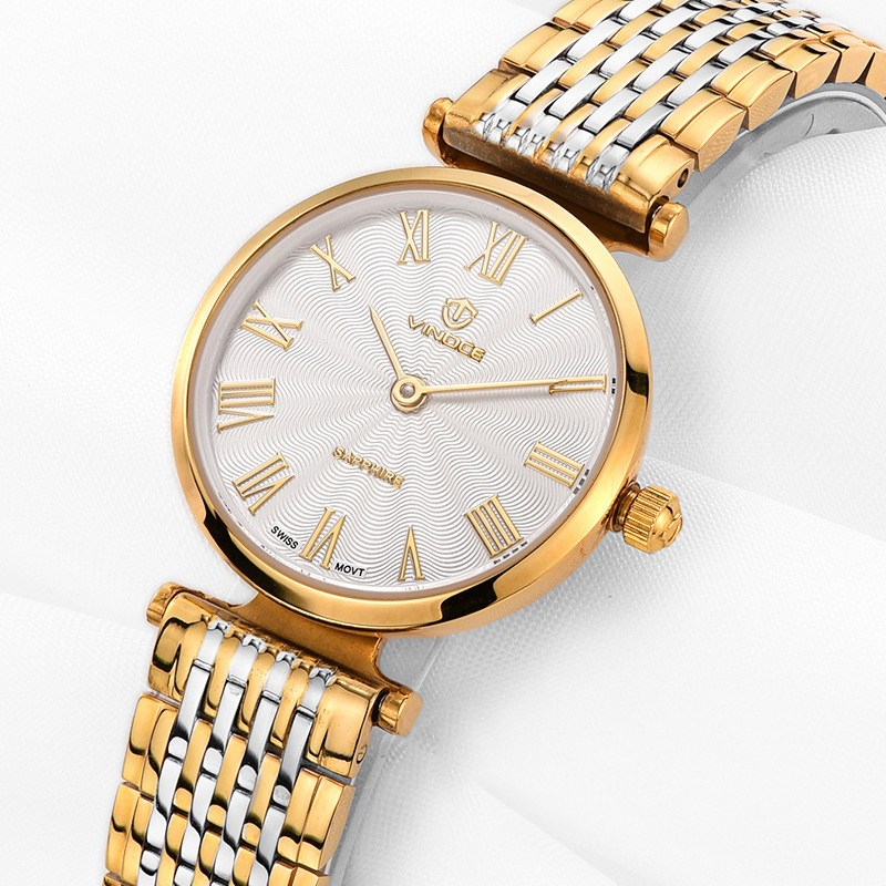 TOP Fashion Quartz Watch Vinoce Stainless Steel Watches Women Luxury Brand 5TM Waterproof Relogio Feminino girl wristwatches misscycy lz the 2016 new fashion brand top quality rhinestone men s steel band watch quartz women dress watch relogio feminino