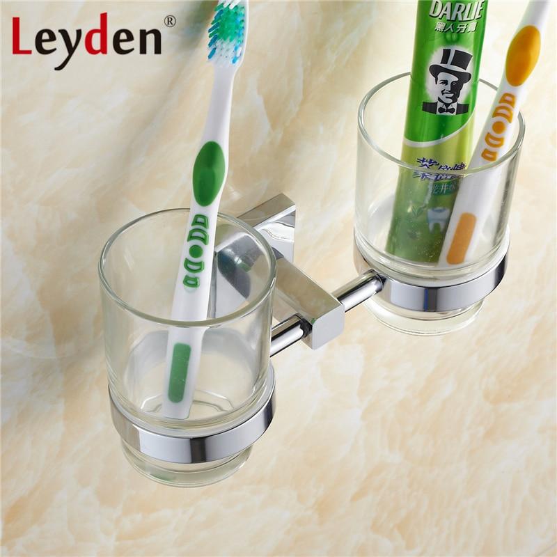 Leyden Brass Toothbrush Tumbler Holder Chrome Wall Mounted Toothrush Hanger Rack Tumbler Cup Hanger Hack Bathroom Accessories