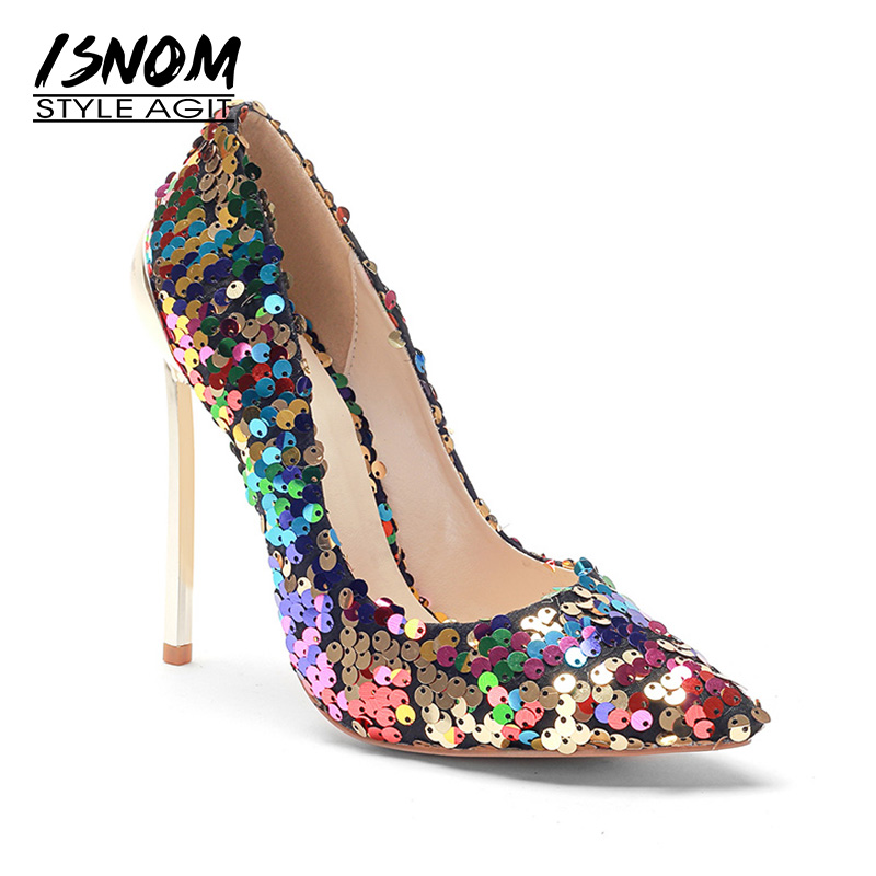 ISNOM Sexy High Heels Women Pumps Bling Shallow Footwear Pointed Toe Footwear Autumn Fashion Wedding Lady Shoes Big Size 45 wetkiss 2018 big size 33 48 high heels women pumps thin heels pointed toe bling footwear spring fashion sexy court ladies shoes