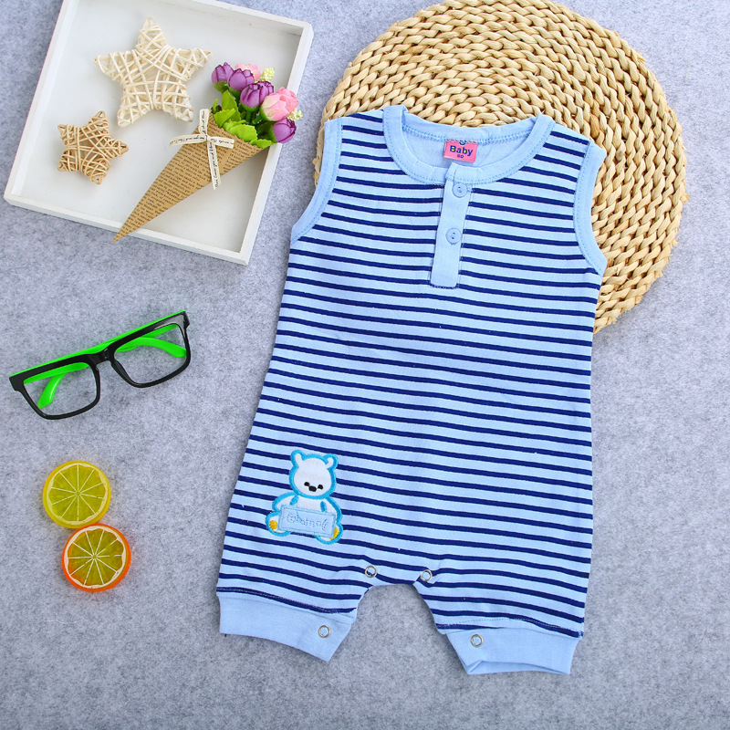 summer stripe Baby Rompers cotton sleeveless Newborn Baby Boy Romper sleeveless Jumpsuit Clothes for 0-12M baby clothes