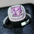 choucong 8mm Pink Simulated Diamond 925 Sterling silver Women Engagement Wedding Band Ring US Size 5-11 Gift
