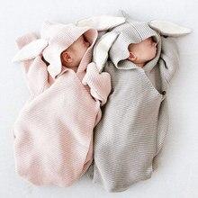 Новорожденных трикотажные спальный мешок для кролик одеяла ребенка охватывает заячьими ушками пеленание ребенка Обёрточная бумага Опора Банни пеленать Обёрточная бумага