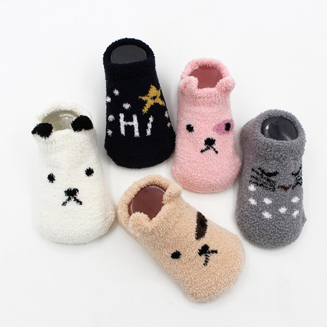 Autumn Winter Newborn Baby Socks Coral Fleece Warm And Thick Funny Socks 0-2 Years Old one set winter thick socks