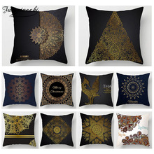 Fuwatacchi Ramadan Decoration Cushion Cover Golden Flower Paint Pillow Sofa Chair Home Accessories Case