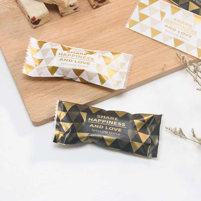 100 Pcs/Lot White Dots DIY Handmade Nougat Candy Packaging Bag Milk Candy Taffy Wrapper Food Packing Mini Bag