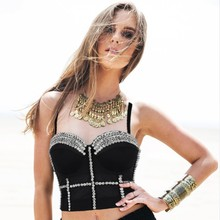 2016 New style top quality beading horny and cute lady' s camis tops