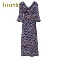 Bohoartist V Neck Tassel Backless Patchwork Print Color Block Maxi Dress Women Long Dress Floral Dark