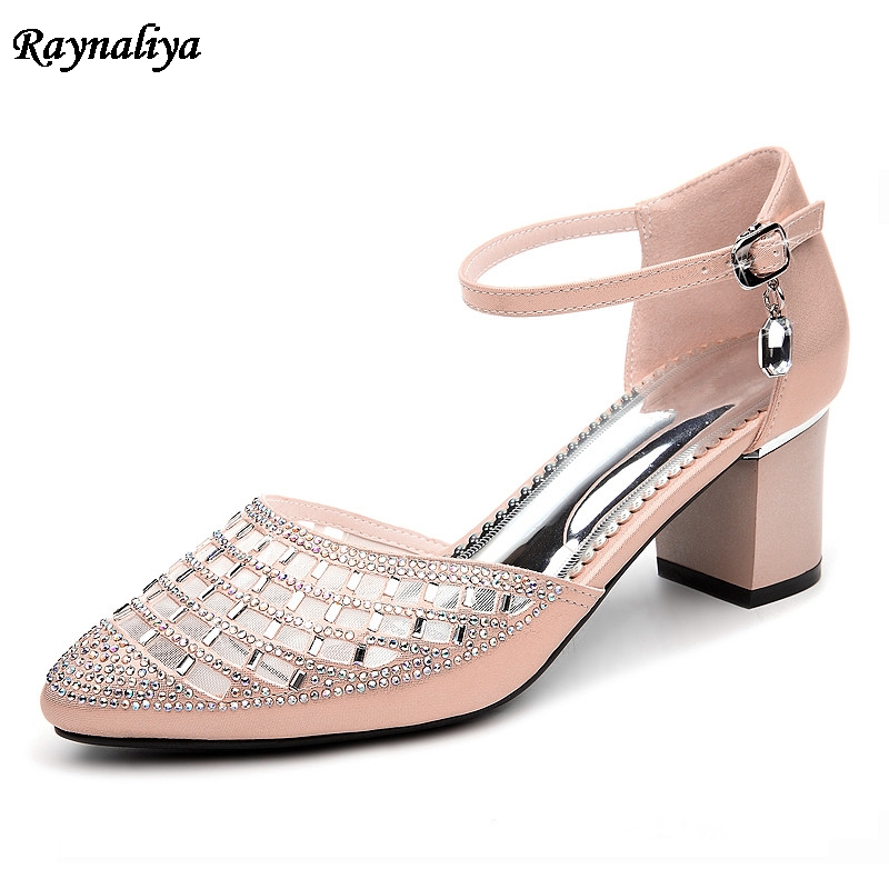 Pointed Toe Med High Heels Princess Rhinestone Shoes Summer Fashion Sexy Lady Party Shoe Woman Sandals Big Size 34-40 LSN-B0057 gzx101206 fashion woman thin high heels pu pump lady plus big size sexy pointed toe shoes woman wedding shoes t strap 10cm 12cm
