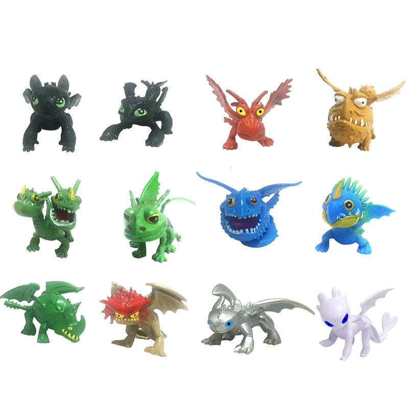 12pcs How To Train Your Dragon 3 Toothless Cartoon PVC Figures Action Figure Toys Kids Collection Ornaments Kids Xmas Gift in Action Toy Figures from Toys Hobbies