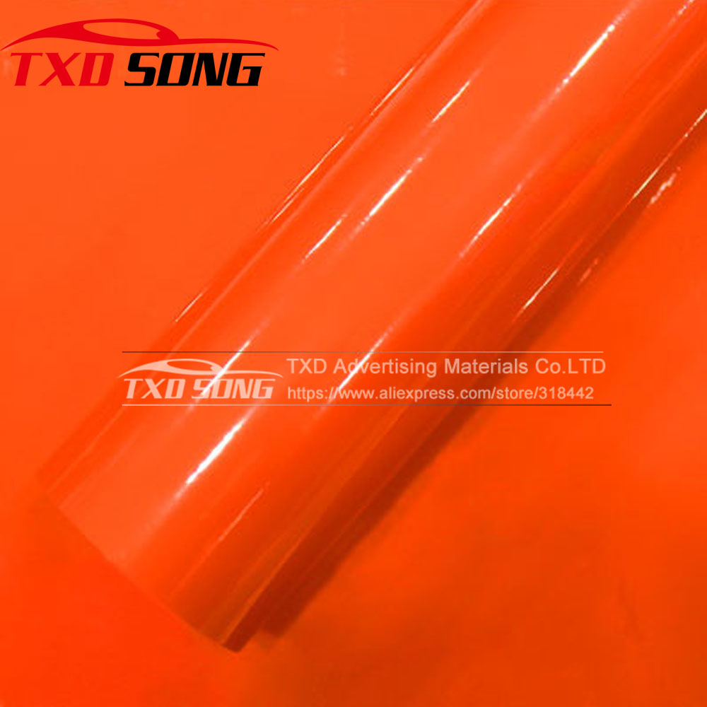 Orange glossy Vinyl Wrap Super Gloss Auto Wrapping film Sheet 1.52*20m/roll by free shipping