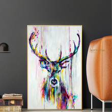 Watercolor Animals Pop Wall Art Canvas Prints And Posters Abstract Deer Modern Decorative Picture For Living Room Children