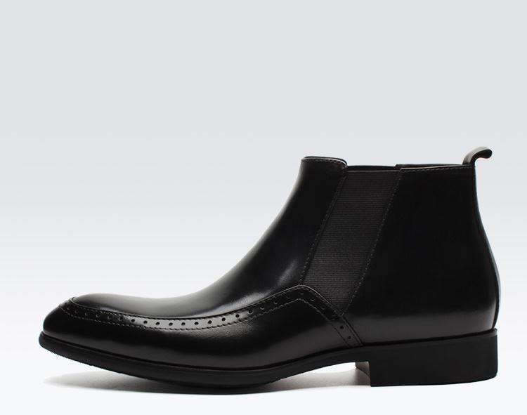 Sculpté D'affaires Pour Brogue D'aile Chaussures Robe VéritableHomme Designer De Courtes Bout Chelsea Hommes Marque Cuir Bottines Mâle Black Oxford CexBdroW